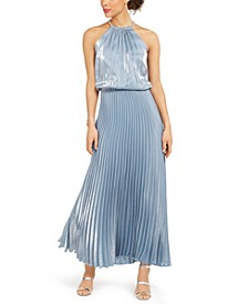 Liquid Shimmer Pleated Blouson Halter Gown
