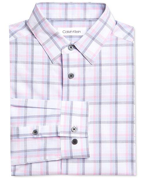 Calvin Klein Big Boys Stretch Gradient Plaid Dress Shirt