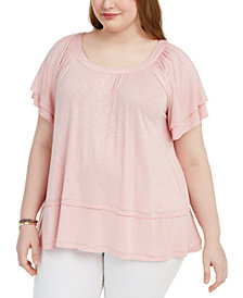 Style & Co Plus Size Flutter-Sleeve Swing-Hem Top, Created for Macy's