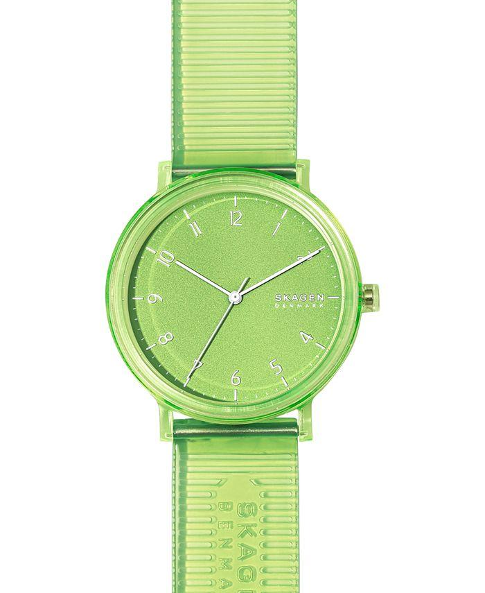 Skagen - Men's Aaren Transparent Green Polyurethane Strap Watch 41mm