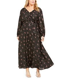Plus Size Faux-Wrap Maxi Dress
