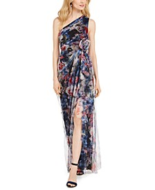 One-Shoulder Printed Chiffon Gown