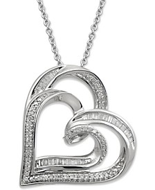 Diamond Double Heart Adjustable Pendant Necklace (1/4 ct. t.w.) in Sterling Silver