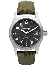 Hamilton Watch, Men's Swiss Mechanical Officer Green Canvas Strap 38mm H69419363