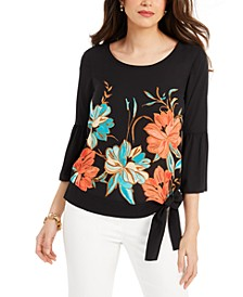 Petite Side-Tie Bell-Sleeve Top, Created for Macy's