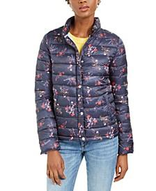 Floral Packable Puffer Coat