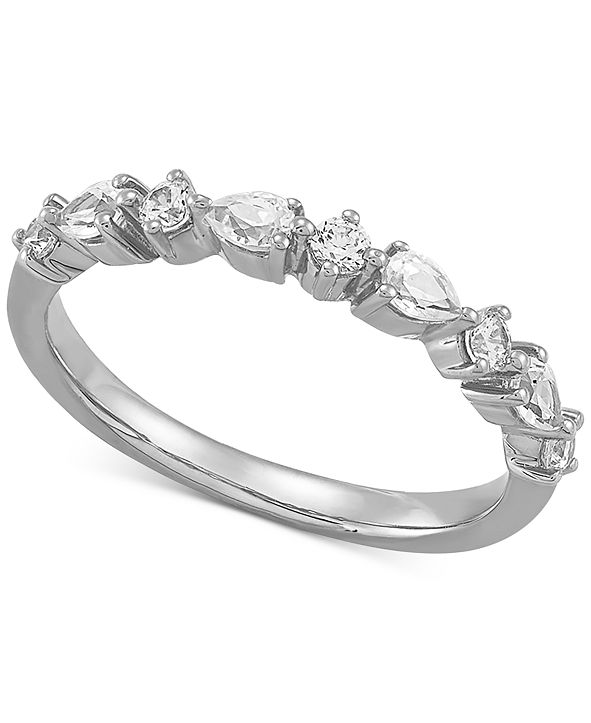 Macy's Diamond Pear & Round Band (1/2 ct. t.w.) in 14k White Gold