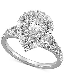 Diamond Pear Halo Engagement Ring (1-1/2 ct. t.w.) in 14k White Gold