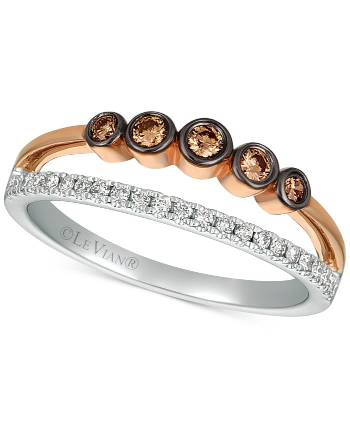 Le Vian - Diamond Two-Tone Statement Ring (1/4 ct. t.w.) in 14k Rose Gold & White Gold