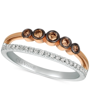 Chocolatier Diamond Two-Tone Statement Ring (1/4 ct. t.w.) in 14k Rose Gold & White Gold
