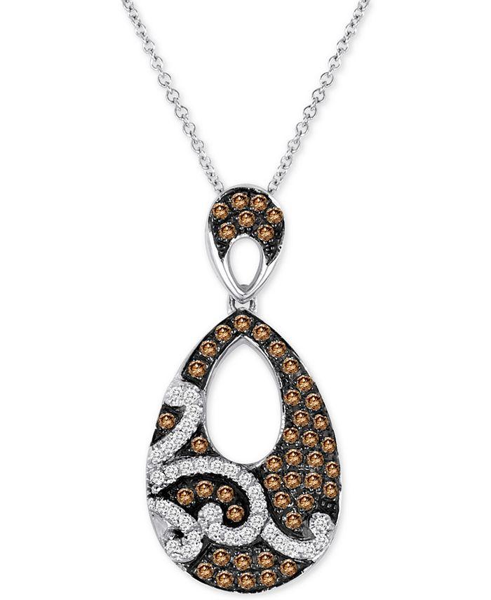 """Le Vian - Diamond Swirl Teardrop 18"""" Pendant Necklace (1/2 ct. t.w.) in 14k White Gold"""
