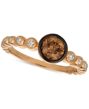 Chocolatier Diamond Bezel Ring (3/4 ct. t.w.) in 14k Rose Gold