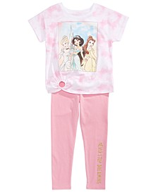 Little Girls 2-Pc. Princesses Tie-Dye T-Shirt & Leggings Set
