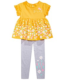 Little Girls 2-Pc. Daisy Border Top & Leggings Set