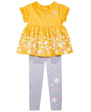 Hello Kitty Little Girls 2-Pc. Daisy Border Top & Leggings Set