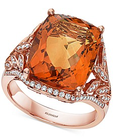 EFFY® Madera Citrine (11-5/8 ct. t.w.) & Diamond (1/2 ct. t.w.) Statement Ring in 14k Rose Gold
