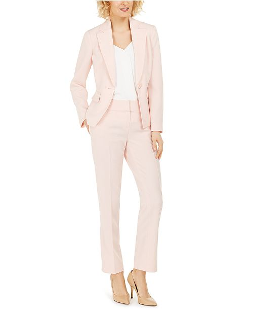 Le Suit Petite One-Button Pants Suit