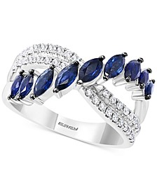 EFFY® Sapphire (1-1/6 ct. t.w.) & Diamond (1/4 ct. t.w.) Crossover Statement Ring in 14k White Gold