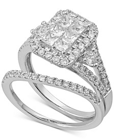 Diamond Princess Halo Bridal Set (1-3/4 ct. t.w.) in 14k White Gold
