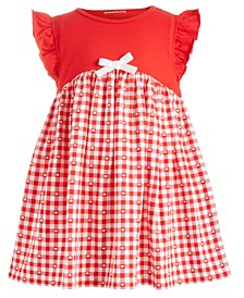 Baby Girls Gingham-Print Bow Dress, Created for Macy's