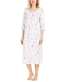 Cabbage-Rose-Print Smocked Nightgown