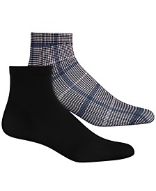 INC Women's 2-Pk. Plaid & Solid Anklet Fashion Socks, Created for Macy's