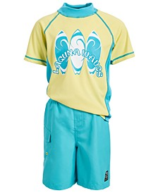 Toddler & Little Boys 2-Pc. Surfs Up Rash Guard & Swim Trunks Set