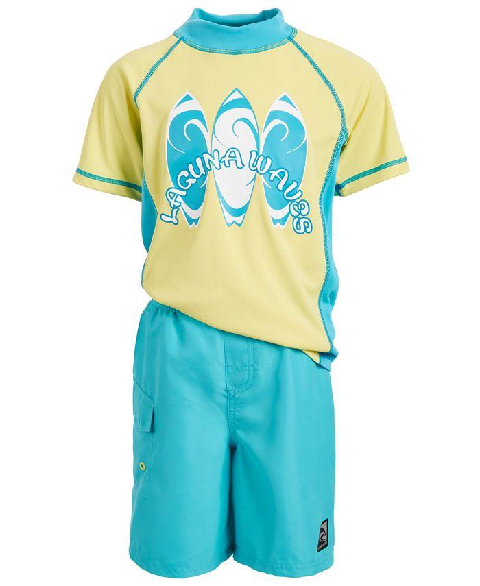 Laguna - Toddler & Little Boys 2-Pc. Surfs Up Rash Guard & Swim Trunks Set