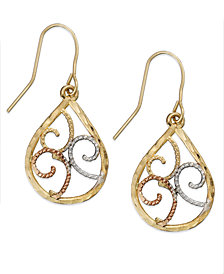 10k Tri-Tone Gold Earrings, Filigree Earrings