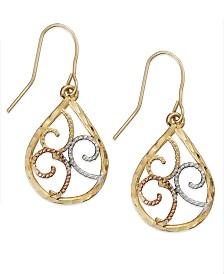 10k Tri Tone Gold Earrings Filigree