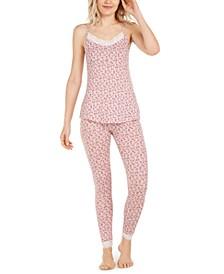 Lace-Trim Floral-Print Capulet Sleep Cami & Montague Pajama Leggings