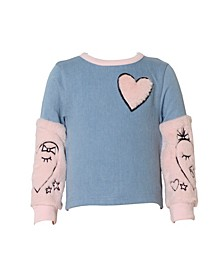Little Girls Faux Denim Pullover with Fur Sleeves