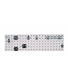 Locboard Tool Storage Kit with 1 18 Gauge Steel Square Hole Pegboard and 8 Piece Lochook Assortment