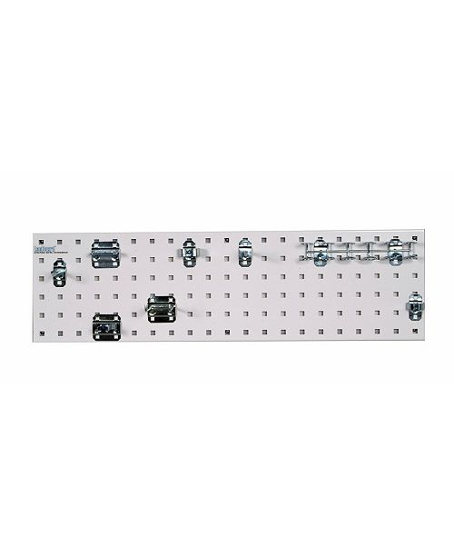 Triton Products Locboard Tool Storage Kit with 1 18 Gauge Steel Square Hole Pegboard and 8 Piece Lochook Assortment