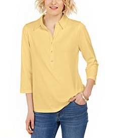 Supima® Cotton 3/4-Sleeve Polo, In Regular and Petite, Created for Macy's