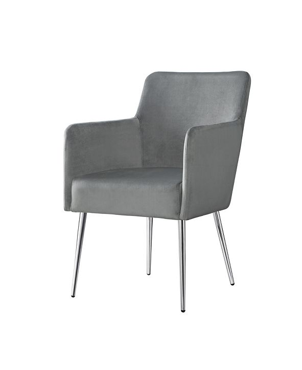 INSPIRED HOME Christine Velvet Arm Dining Chair with Metal Legs and Knob Set of 2