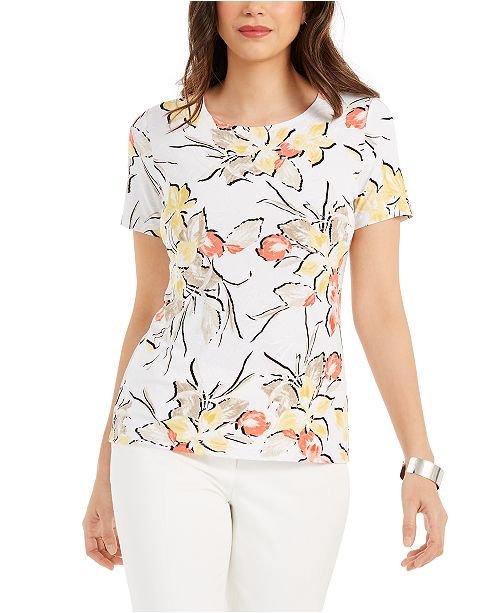 JM Collection Floral-Print Scoop-Neck Jacquard Top, Created For Macy's