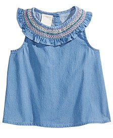 Baby Girls Rainbow-Smocked Cotton Top, Created for Macy's