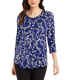 3/4-Sleeve Vertical Vines Top, Created for Macy's