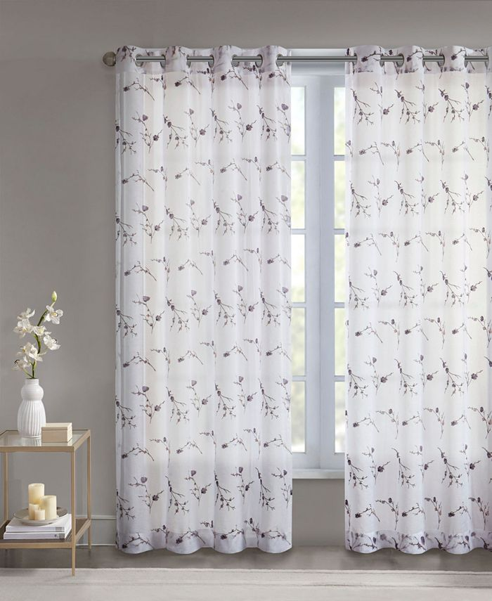 """Madison Park - Meredith 50"""" x 84"""" Floral Embroidered Sheer Curtain Panel"""