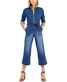 INC Zip-Front Denim Cropped Jumpsuit, Created For Macy's