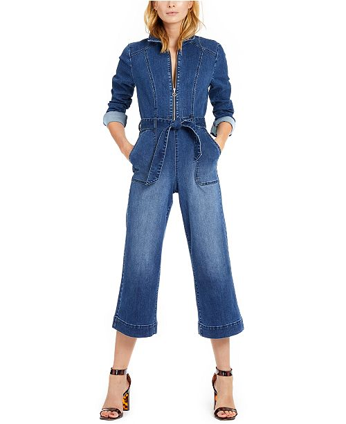 INC International Concepts INC Zip-Front Denim Cropped Jumpsuit, Created For Macy's