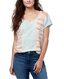 Tie-Dye Split-Neck T-Shirt