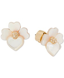 Gold-Tone Crystal Flower Stud Earrings