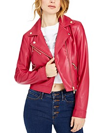 Venom Cropped Faux-Leather Moto Jacket