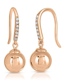 Brilliant Bubbles Diamond 1/10 ct. t.w. Line Drop Earring Designed in 14k Rose Gold over Sterling Silver