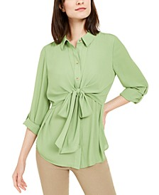 Tie-Waist Roll-Tab-Sleeve Top, Created for Macy's
