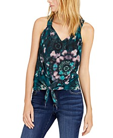 INC Petite Tie-Hem Tie-Dyed Top, Created for Macy's