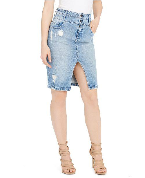 GUESS Double Waisted Denim Pencil Skirt