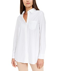 Petite Long Sleeve Knit Button-Front Top, Created for Macy's